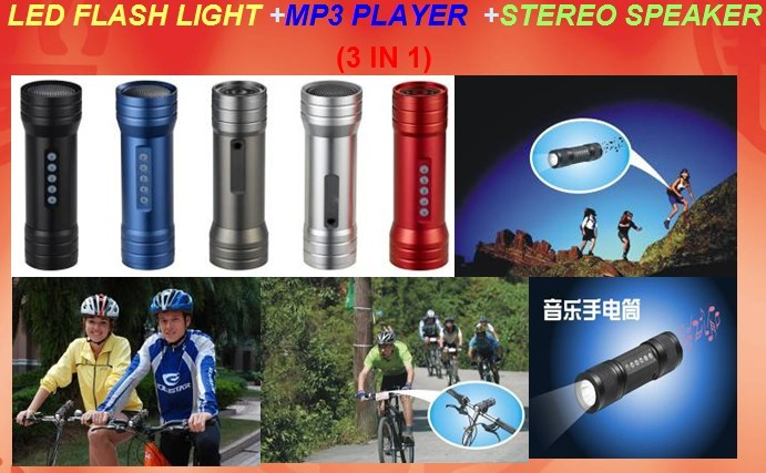 Led flash light with mp3 player